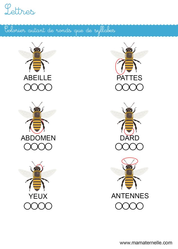 Grande section - Lettres : colorier autant de ronds que de syllabes