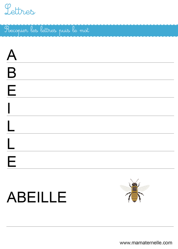 Moyenne section - Lettres : recopier les lettres puis le mot