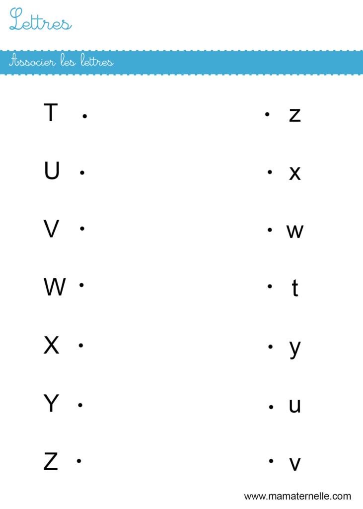 Moyenne section - Lettres : associer les lettres