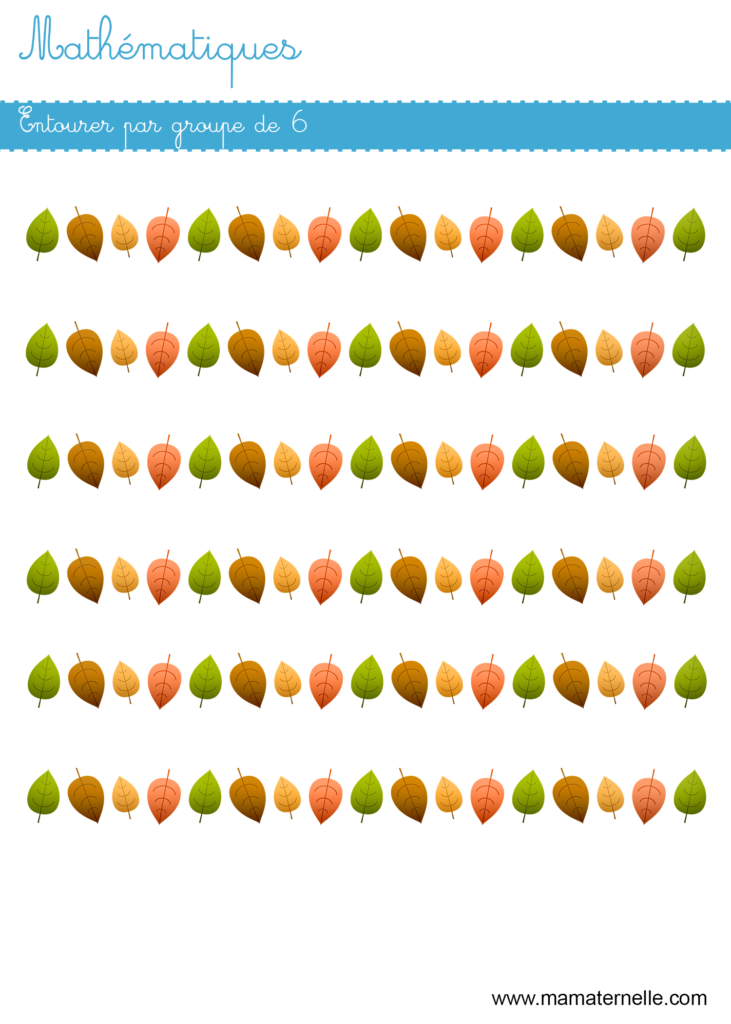 Grande section - Mathématiques : entourer par groupe de 6